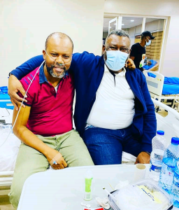 Uche and his Elder brother Leo Edochie in the hospital