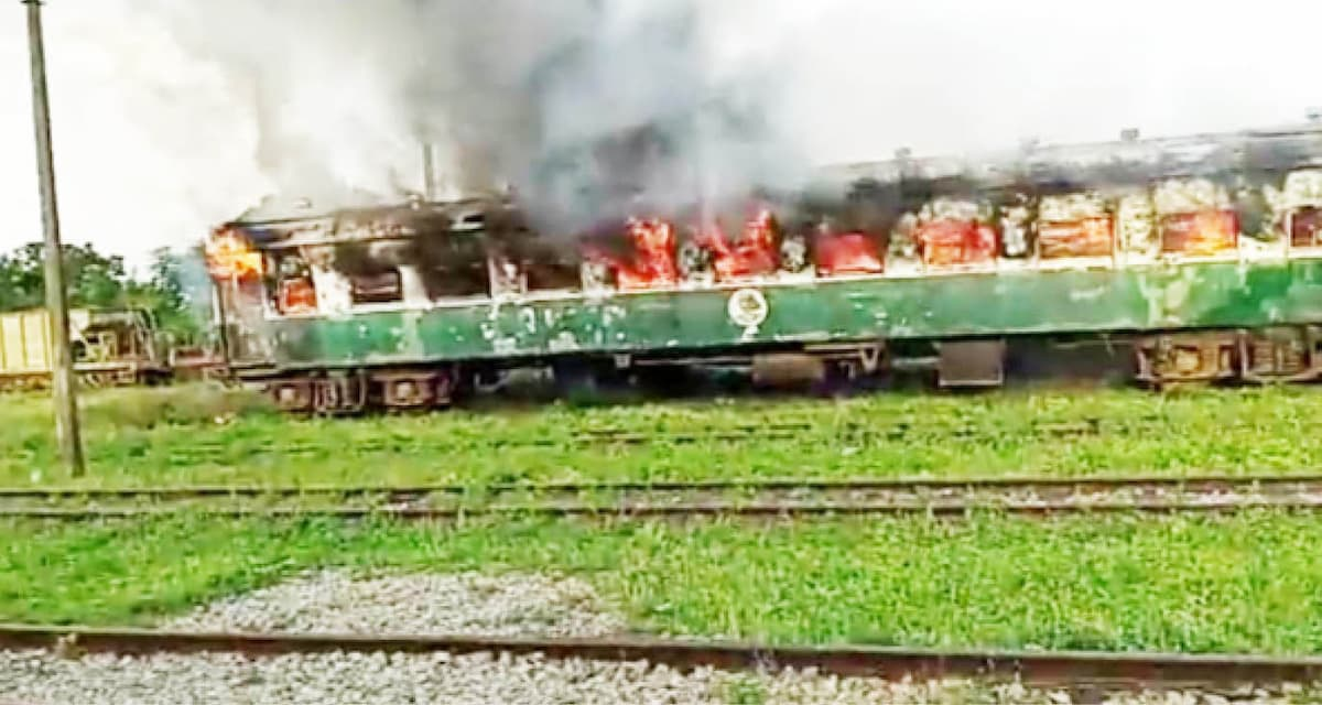 The passengers train set ablaze by a man in Offa, Kwara State yesterday